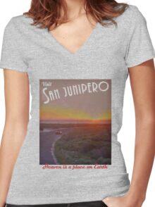 Black Mirror - San Junipero Women's Fitted V-Neck T-Shirt