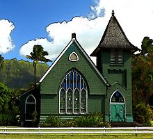 The Old Church In Hanalei by James Eddy