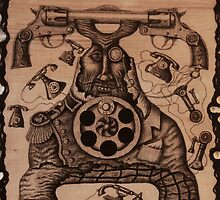 Communication ink pen drawing on wood by Vitaliy Gonikman
