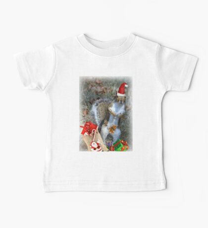 Christmas Squirrel Baby Tee
