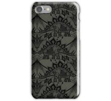 Stegosaurus Lace - Black / Grey iPhone Case/Skin