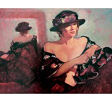 The Flower Hat : oil painting Photographic Print