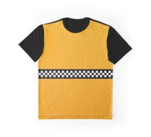 NY Taxi Cab Yellow with Black and White Check Stripe Graphic T-Shirt