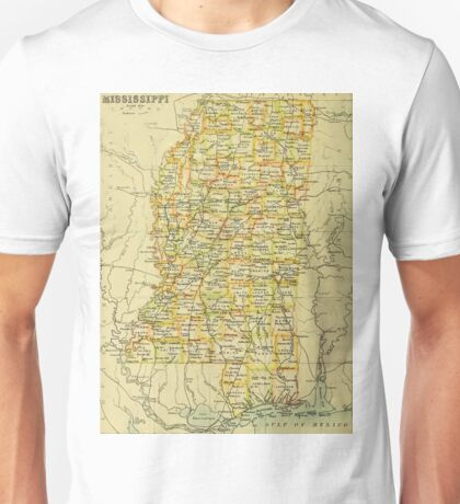 old map of Mississippi 1892 Unisex T-Shirt