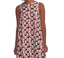 Red and Black All Over Girly Daisy Pattern A-Line Dress