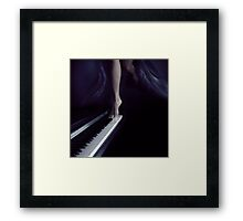 Woman legs dancing on piano art photo print Framed Print