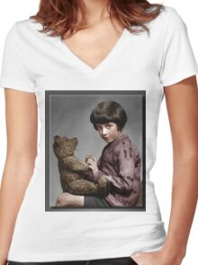 Christopher Robin and Pooh Women's Fitted V-Neck T-Shirt