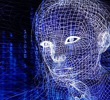 Woman digital face conceptual 3D illustration art photo print by ArtNudePhotos