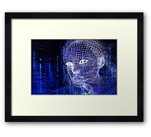 Woman digital face conceptual 3D illustration art photo print Framed Print