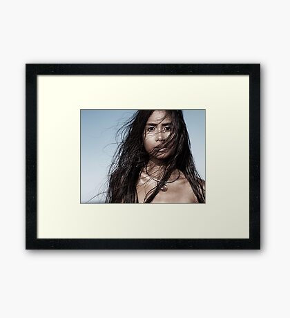 Beautiful woman with long wet hair artistic portrait art photo print Framed Print
