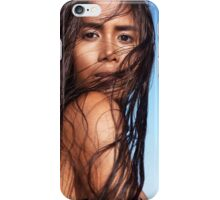 Sensual beauty portrait of young exotic woman with long wet dark hair art photo print iPhone Case/Skin