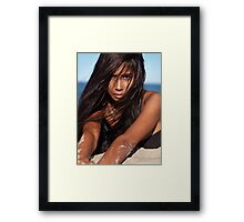 Young woman lying in sand artistic portrait art photo print Framed Print