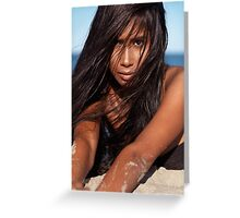 Young woman lying in sand artistic portrait art photo print Greeting Card