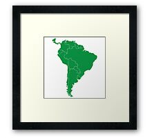 Blank green South America map Framed Print