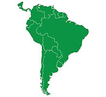 Blank green South America map Photographic Print