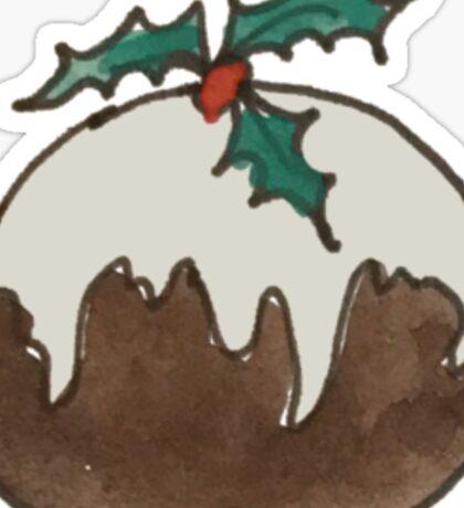Round Ball Plum Pudding Christmas Figgy Dessert Sticker