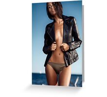 Sexy young woman in leather jacket over half-naked body at the beach art photo print Greeting Card