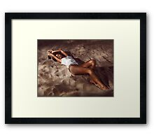 Sexy young woman lying on beach sand at night art photo print Framed Print