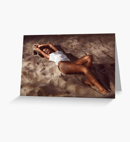 Sexy young woman lying on beach sand at night art photo print Greeting Card
