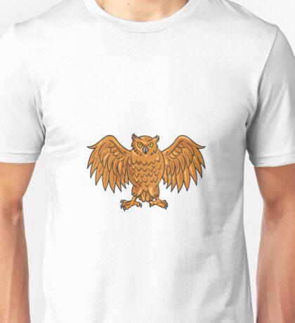 Angry Owl Wings Spread Drawing Unisex T-Shirt