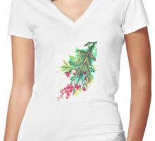 Christmas Holly - T shirt Women's Fitted V-Neck T-Shirt