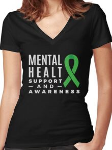 Mental Health Support and Awareness Green Ribbon Women's Fitted V-Neck T-Shirt