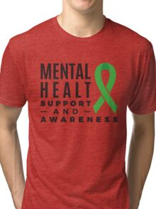 Mental Health Support and Awareness Green Ribbon  Tri-blend T-Shirt
