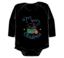 Merry Christmas - Cute Cat Ball Yarn Holiday  One Piece - Long Sleeve
