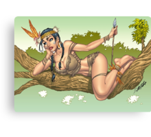 Native American Indian Pinup Girl by Al Rio Canvas Print