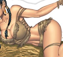 Native American Indian Pinup Girl by Al Rio Sticker