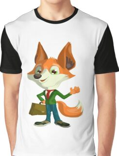 Funny Mr. Fox Vector Graphic Animinated Print Graphic T-Shirt