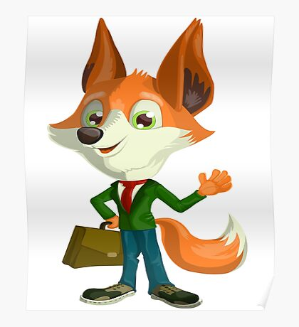 Funny Mr. Fox Vector Graphic Animinated Print Poster