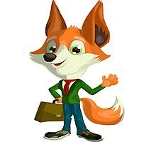 Funny Mr. Fox Vector Graphic Animinated Print Photographic Print