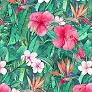 Classic Tropical Garden with Pink Flowers by micklyn