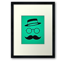 Retro / Minimal vintage face with Moustache & Glasses Framed Print