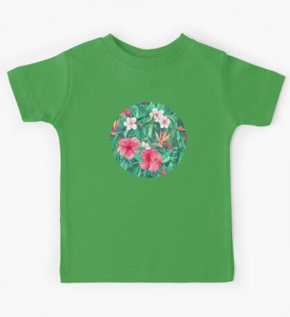 Classic Tropical Garden with Pink Flowers Kids Tee