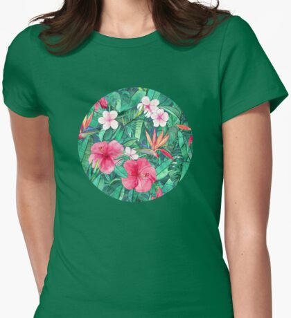 Classic Tropical Garden with Pink Flowers Womens Fitted T-Shirt