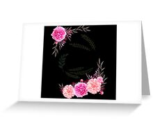 Pink and black Floral Gift for Women Greeting Card