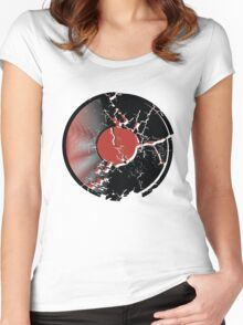 Music Vinyl Record Explosion Comic Style Women's Fitted Scoop T-Shirt