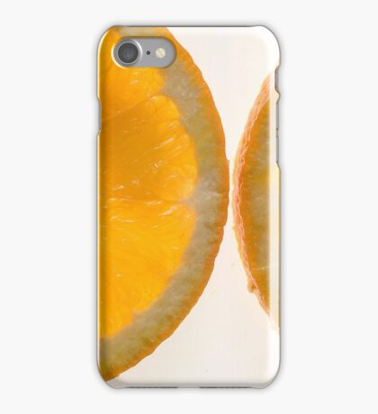 Cutout of a back lit slices of orange on white background iPhone Case/Skin