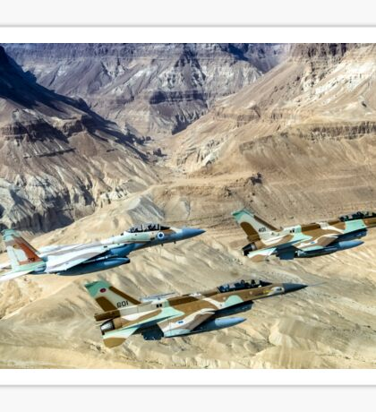 Israeli Air Force fighter jets flying over the Judea mountains Dead sea area Sticker