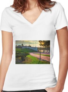 Evening in the park Women's Fitted V-Neck T-Shirt