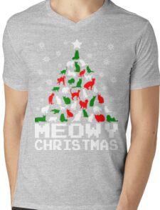 Meowy christmas cat tree ugly sweater Mens V-Neck T-Shirt