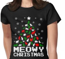 Meowy christmas cat tree ugly sweater Womens Fitted T-Shirt
