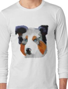 Colourful Collie Dog Art Long Sleeve T-Shirt