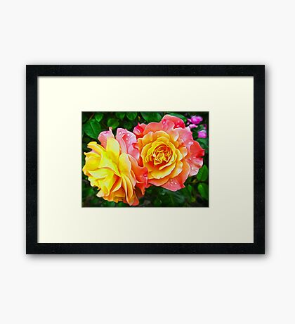 Pink Rose Flowers Floral Oil Painting Framed Print
