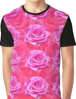 Passionate Pink Roses On Pink Bokeh Background. Graphic T-Shirt