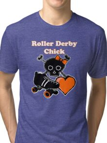 Roller Derby Chick (Orange) Tri-blend T-Shirt
