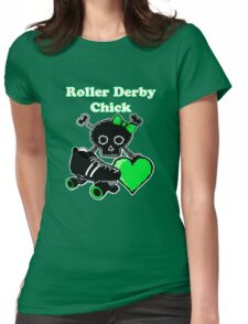 Roller Derby Chick (Green) Womens Fitted T-Shirt