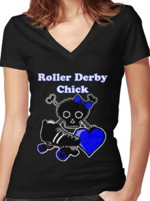 Roller Derby Chick (Blue) Women's Fitted V-Neck T-Shirt